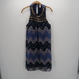 Xhilaration Floral Beaded Chevron Shift Top Dress